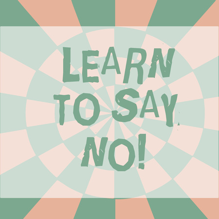 Text sign showing Learn To Say No. Business photo showcasing It means that you need to decline or refuse few things Seamless Circles in Yellow on Violet Surface Flat Style Geometrical Pattern