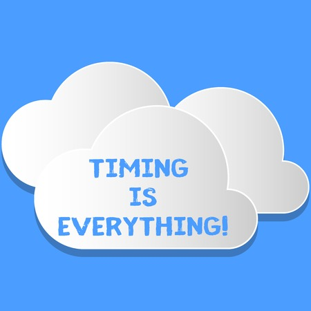 Word writing text Timing Is Everything. Business photo showcasing Consideration events can influence some desired outcome Blank White Fluffy Clouds Cut Out of Board Floating on Top of Each Other