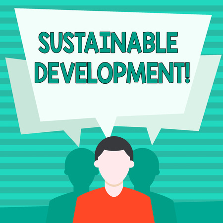 Conceptual hand writing showing Sustainable Development. Concept meaning developing without depletion of natural resources Faceless Man has Two Shadows with Speech Bubble Overlapping