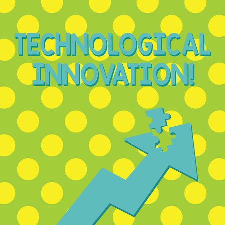 Text sign showing Technological Innovation. Business photo showcasing comprise new products and its significant changes Colorful Arrow Pointing Upward with Detached Part Like Jigsaw Puzzle Piece