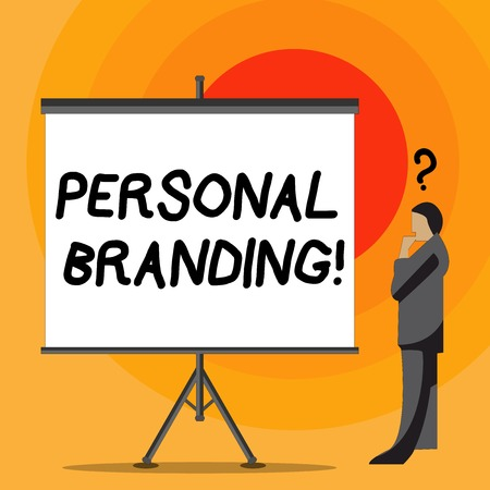 Writing note showing Personal Branding. Business concept for practice of showing marketing themselves and their careers Businessman with Question Mark Above his Head Blank Screen