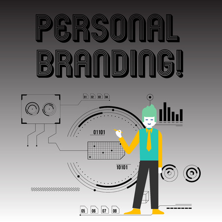 Handwriting text writing Personal Branding. Conceptual photo practice of showing marketing themselves and their careers Man Standing Holding Pen Pointing to Chart Diagram with SEO Process Icons