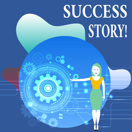 Writing note showing Success Story. Business concept for story of demonstrating who rises to fortune or brilliant achievement Woman Presenting the SEO Process with Cog Wheel Gear inside