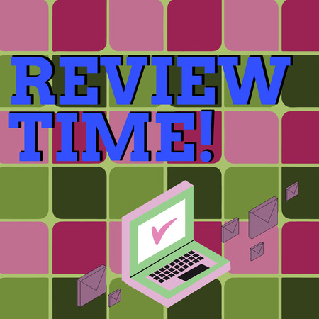 Text sign showing Review Time. Business photo showcasing survey over whole subject or division it Summary of something Color Mail Envelopes around Laptop with Check Mark icon on Monitor Screen