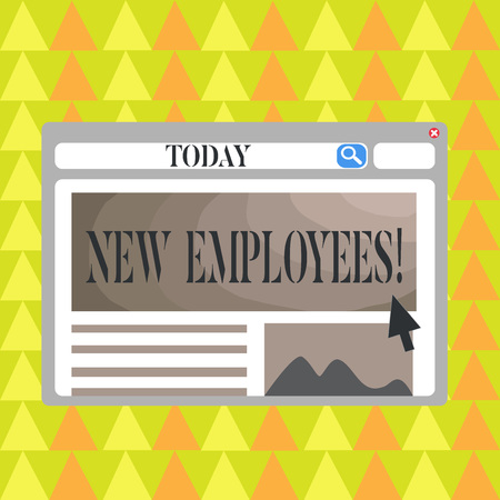 Conceptual hand writing showing New Employees. Concept meaning individual who was hired by employer to do specific job Template Pastel Colorful Website Layout for Homepage Format