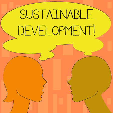 Word writing text Sustainable Development. Business photo showcasing developing without depletion of natural resources Silhouette Sideview Profile Image of Man and Woman with Shared Thought Bubble