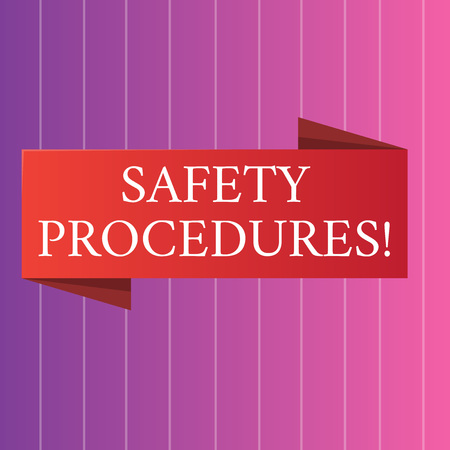 Word writing text Safety Procedures. Business photo showcasing steps description of process when deviation may cause loss Blank Folded Color Banner photo on Vertically Striped Two Toned Backdrop Banco de Imagens