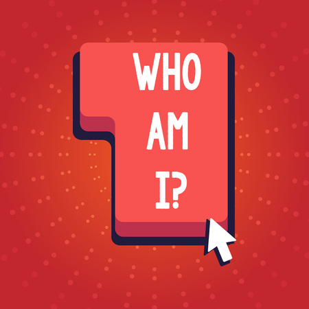 Text sign showing Who Am I Question. Business photo showcasing when asking about your identity and demonstratingality properties Direction to Press or Click the Red Keyboard Command Key with Arrow Cursor Stock Photo