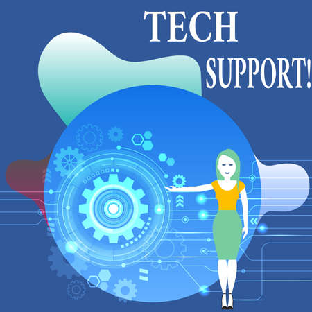 Writing note showing Tech Support. Business concept for service by hardware or software which help and advice products Woman Presenting the SEO Process with Cog Wheel Gear inside