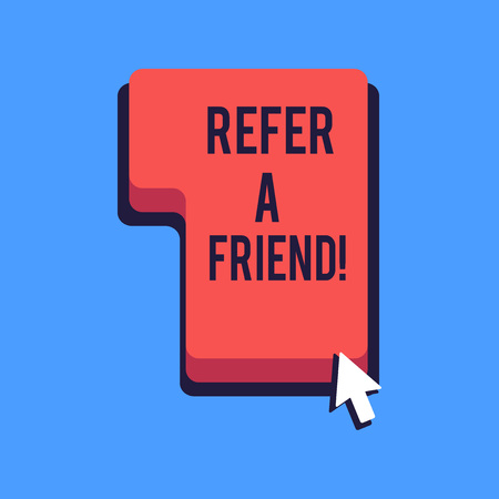 Writing note showing Refer A Friend. Business concept for direct someone to another or send him something like gift Direction to Press or Click Command Key with Arrow Cursor Foto de archivo