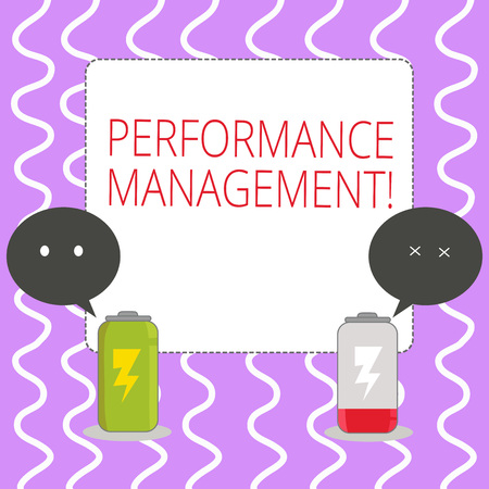 Conceptual hand writing showing Perforanalysisce Management. Concept meaning analysisaging Productivity Enhance Quality input Time Fully Charge and Discharge Battery with Emoji Speech Bubble