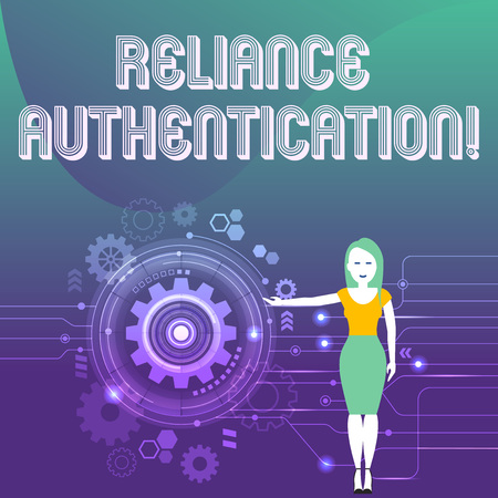 Word writing text Reliance Authentication. Business photo showcasing part of trust based identity attribution process Woman Standing and Presenting the SEO Process with Cog Wheel Gear inside
