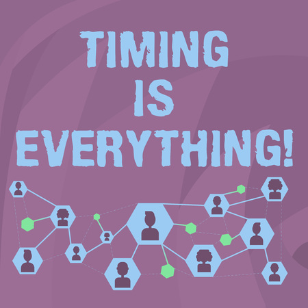 Word writing text Timing Is Everything. Business photo showcasing Consideration events can influence some desired outcome Online Chat Head Icons with Avatar and Connecting Lines for Networking Idea