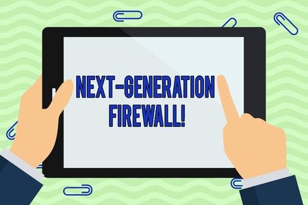 Writing note showing Next Generation Firewall. Business concept for combining firewall with other network filtering Hand Holding Pointing Touching Color Tablet White Screen Stock fotó