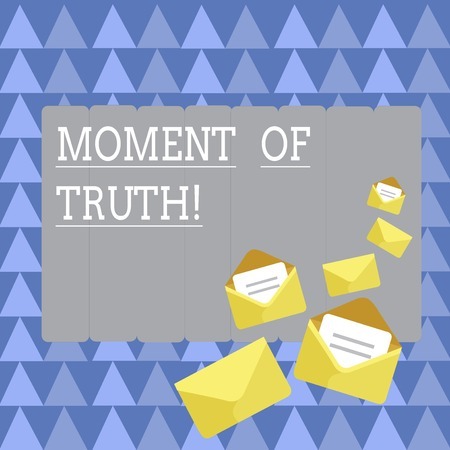 Handwriting text Moment Of Truth. Conceptual photo time when demonstrating or thing is tested decision has to be made Closed and Open Envelopes with Letter Tucked In on Top of Color Stationery