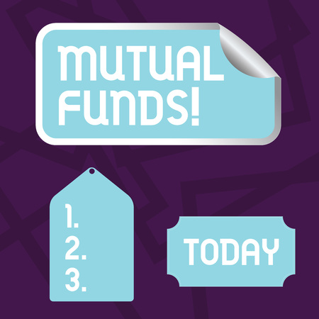 Text sign showing Mutual Funds. Business photo showcasing investment funded shareholders trades in diversified holdings Blank Color Label, Self Adhesive Sticker with Border, Bended Corner and Tag Imagens