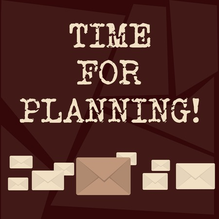 Text sign showing Time For Planning. Business photo showcasing exercising conscious control spent on specific activities Pastel Color Closed Envelopes in Different Sizes with Big one in the Middle