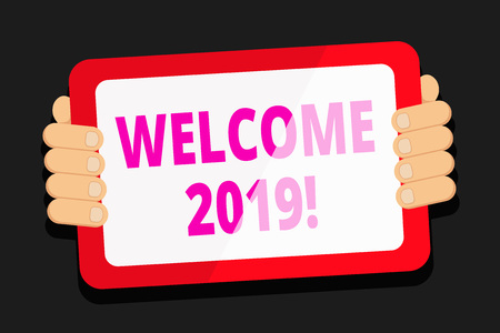 Word writing text Welcome 2019. Business photo showcasing instance or analysisners of greeting someone like new year Color Tablet Smartphone with Blank Screen Handheld from the Back of Gadget Banque d'images