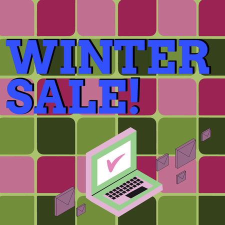 Text sign showing Winter Sale. Business photo showcasing occasion when shop sells things at less than their normal price Color Mail Envelopes around Laptop with Check Mark icon on Monitor Screen