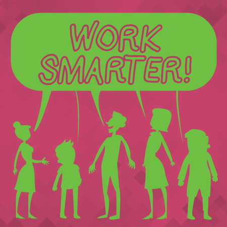Word writing text Work Smarter. Business photo showcasing its better to efficient and productive than waste time Silhouette Figure of People Talking and Sharing One Colorful Speech Bubble
