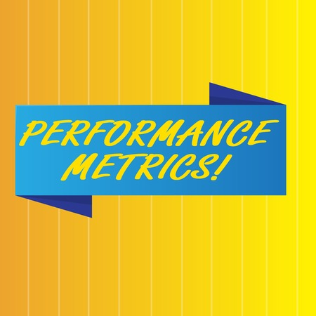 Text sign showing Perforanalysisce Metrics. Business photo showcasing used measuring and tracking perforanalysisce production Blank Folded Color Banner photo on Vertically Striped Two Toned Backdrop