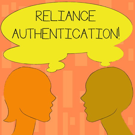 Word writing text Reliance Authentication. Business photo showcasing part of trust based identity attribution process Silhouette Sideview Profile Image of Man and Woman with Shared Thought Bubble
