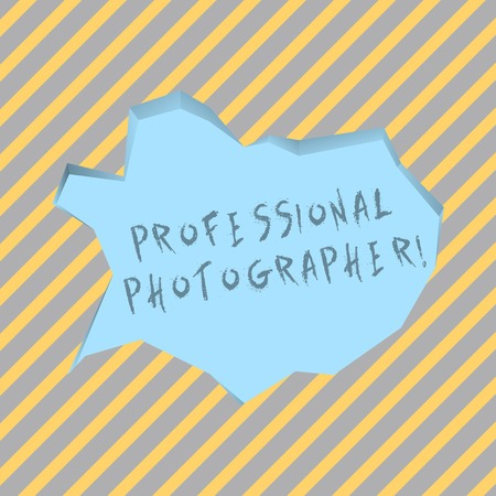 Text sign showing Professional Photographer. Business photo text demonstrating who takes photographs especially as job Blank Pale Blue Speech Bubble in Irregular Cut Edge Shape 3D Style Backdrop
