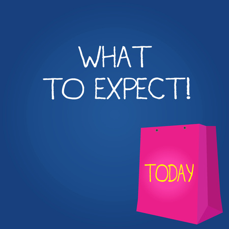Text sign showing What To Expect. Business photo showcasing asking about regard something as likely to happen occur Color Gift Bag with Punched Hole but Without Handle on Twotone Blank Space