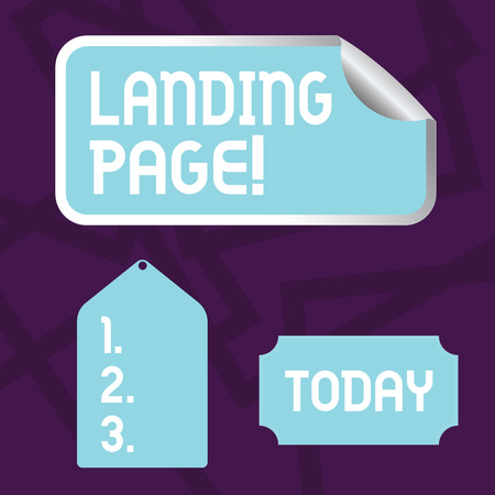 Text sign showing Landing Page. Business photo showcasing web which serves as entry point for particular website Blank Color Label, Self Adhesive Sticker with Border, Bended Corner and Tag