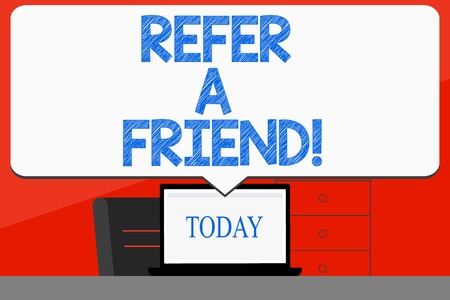 Word writing text Refer A Friend. Business photo showcasing direct someone to another or send him something like gift Blank Huge Speech Bubble Pointing to White Laptop Screen in Workspace Idea 版權商用圖片