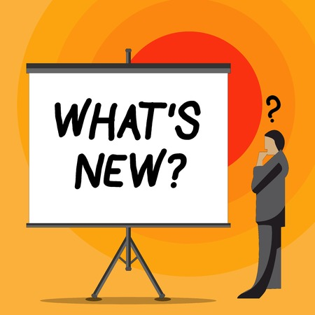 Writing note showing What S New Question. Business concept for you ask someone about his current live events actions Businessman with Question Mark Above his Head Blank Screen