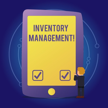 Text sign showing Inventory Management. Business photo text supervision of non capitalized assets and stock items Businessman Standing and Gesturing Facing Blank Screen Giant Tablet Device Stock Photo