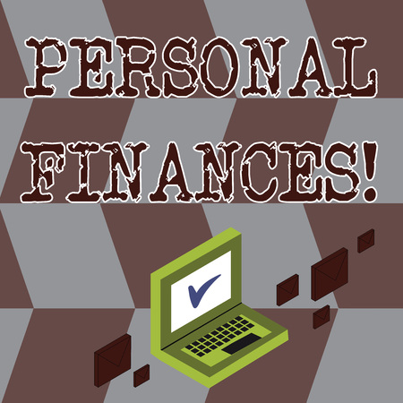 Conceptual hand writing showing Personal Finances. Concept meaning analysisagement of money and financial decisions for demonstrating Mail Envelopes around Laptop with Check Mark icon on Monitor