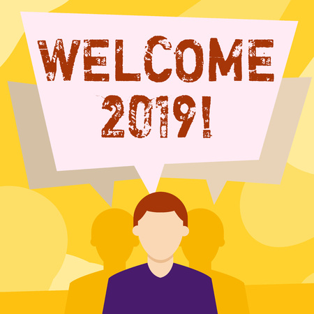 Conceptual hand writing showing Welcome 2019. Concept meaning instance or analysisners of greeting someone like new year Faceless Man has Two Shadows with Speech Bubble Overlapping 免版税图像
