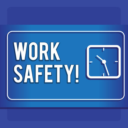Writing note showing Work Safety. Business concept for policies and procedures in place to ensure health of employees Modern Design of Square Clock on Two Tone Pastel Backdrop Reklamní fotografie