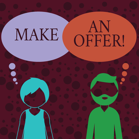 Conceptual hand writing showing Make An Offer. Concept meaning one will pay specified amount of money for something Bearded Man and Woman with the Blank Colorful Thought Bubble