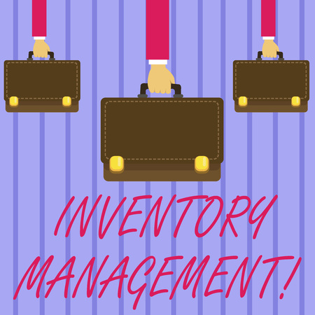 Writing note showing Inventory Management. Business concept for supervision of non capitalized assets and stock items Hands Carrying Brown Briefcase with Running Style and Lock