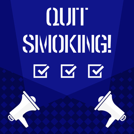 Writing note showing Quit Smoking. Business concept for process of discontinuing tobacco and any other smokers Spotlight Crisscrossing Upward from Megaphones on the Floor