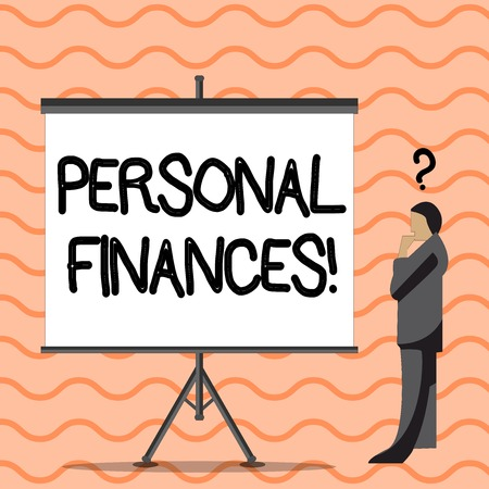Writing note showing Personal Finances. Business concept for analysisagement of money and financial decisions for demonstrating Businessman with Question Mark Above his Head Blank Screen