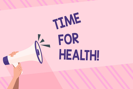 Text sign showing Time For Health. Business photo text moment for physical mental and not merely absence disease Human Hand Holding Tightly a Megaphone with Sound Icon and Blank Text Space