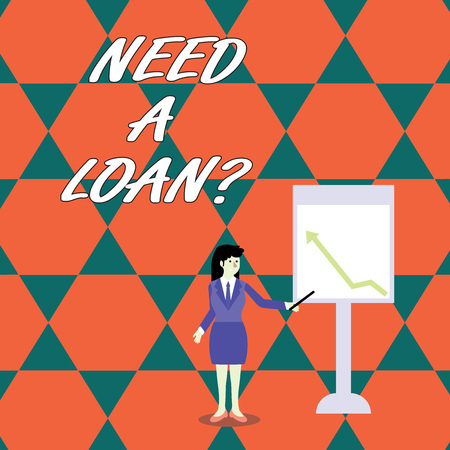 Word writing text Need A Loan Question. Business photo showcasing asking if need amount of money borrowed often from bank Businesswoman Holding Stick Pointing to Chart of Arrow Upward on Whiteboard