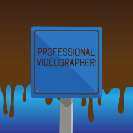 Text sign showing Professional Videographer. Business photo showcasing demonstrating who makes video films as paid job 3D Square Blank Colorful Caution Road Sign with Black Border Mounted on Wood