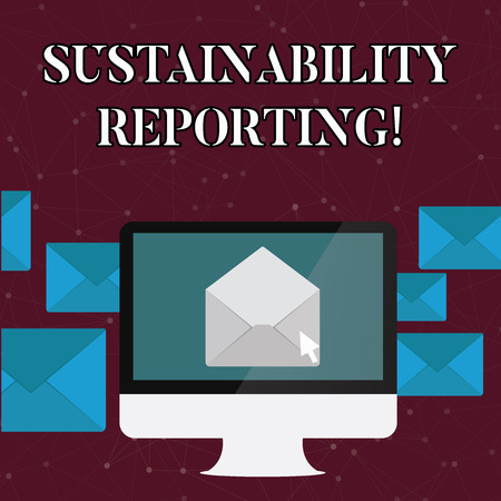 Text sign showing Sustainability Reporting. Business photo text give information economic environmental perforanalysisce Open Color Envelope inside Computer Screen. Letter Casing Surrounds the PC