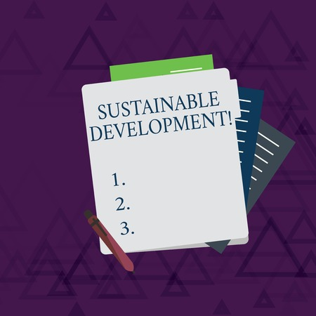 Writing note showing Sustainable Development. Business concept for developing without depletion of natural resources Lined Paper Stationery Partly into View from Pastel Folder