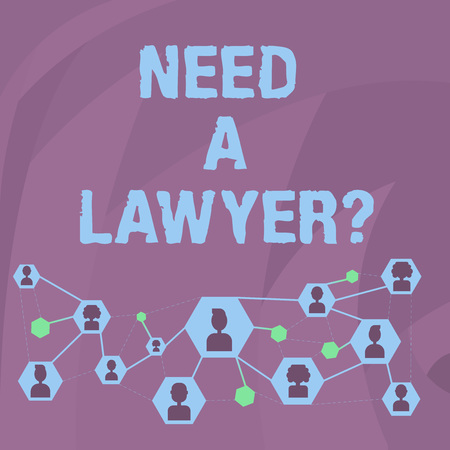Word writing text Need A Lawyer Question. Business photo showcasing asking if need demonstrating who practises or studies law Online Chat Head Icons with Avatar and Connecting Lines for Networking Idea