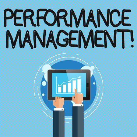 Conceptual hand writing showing Perforanalysisce Management. Concept meaning analysisaging Productivity Enhance Quality input Time Businessman Hand Touching to Bar Chart on Smartphone Screen