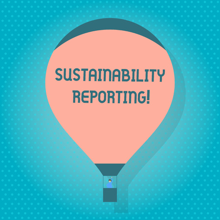 Word writing text Sustainability Reporting. Business photo showcasing give information economic environmental perforanalysisce Blank Pink Hot Air Balloon Floating with One Passenger Waving From Gondola
