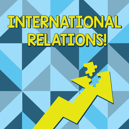 Conceptual hand writing showing International Relations. Concept meaning way in which two or more nations interact with Arrow Pointing Up with Detached Part Jigsaw Puzzle Piece