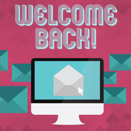Writing note showing Welcome Back. Business concept for used to greet return of someone or something to place Open Envelope inside Computer Letter Casing Surrounds the PC