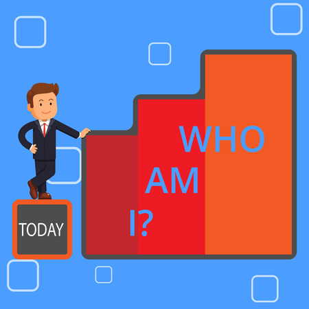 Handwriting text writing Who Am I Question. Conceptual photo when asking about your identity and demonstratingality properties Happy Businessman Presenting Growth and Success in Rising Bar Graph Columns Stock Photo